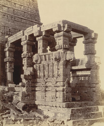 Close view of entrance porch of the Gadarmal Temple, Pathari, Bhopal State.